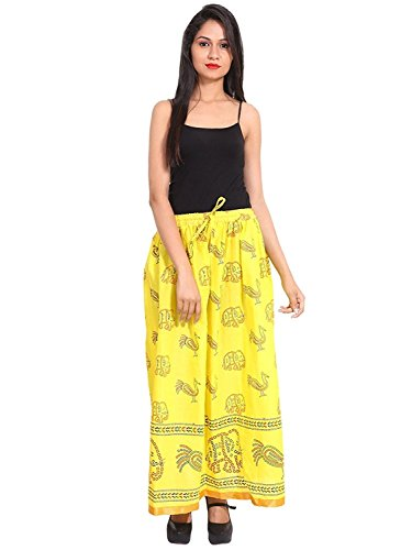 Indian Handicrfats Export Yellow Gold Printed Cotton Long Skirt for Women (Free Size) Size: Length- 40 inches