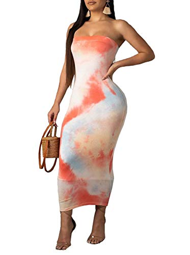 Ophestin Women Sexy Strapless Tube Tie Dye Ombre Print Off Shoulder Tight Bodycon Long Pencil Maxi Dress Yellow XS
