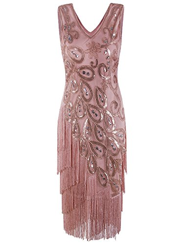 Vijiv Womens Vintage 1920s Style Flapper Dress V Neck Beaded Fringe Roaring 20s Great Gatsby Dress, Champagne Large -