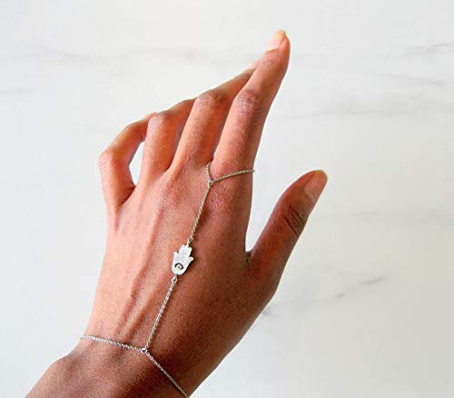 (Dainty Hand Chain Bracelet with Hamsa Charm, Rhodium Silver Plated Brass, Size 7