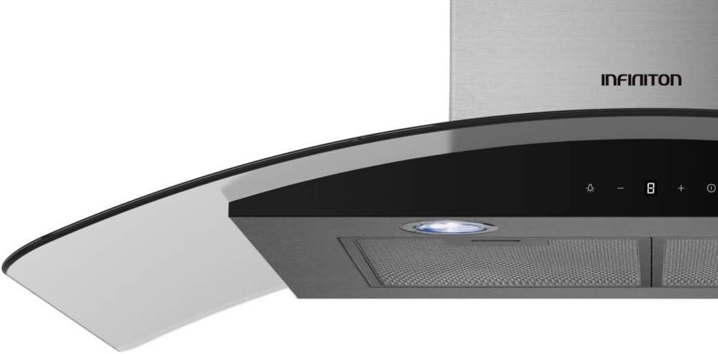 INFINITON CMPCR-T90S Campana extractora T INVERTIDA (90 cm, 800cm³/h, 69db, INOX y Cristal Templado Negro, Luz LED; Touch Panel, Display): Amazon.es: Hogar