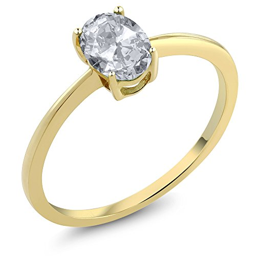 0.95 Ct Oval White Topaz 10K Yellow Gold Solitaire Engagement Ring (Sizes 5,6,7,8,9)