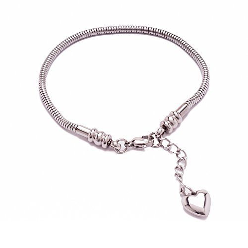 """New European Style Master Starter Charm Bracelet - Genuine 316 Surgical Grade Stainless Steel (not 925 sterling silver) Silver Snake Chain Complete with 1.5"""" Sizes Extender and Heart Charm For The Perfect Fit, Lobster Claw Clasp, Fits Silver, Glass Charms and Beads an Authentic Maddie M Designs Original Jewelry Fashion Piece, You Will Love It! Satisfaction Guaranteed! Lifetime Warranty! - 6.5 inches"""