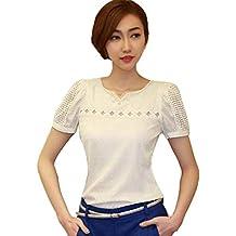 AmyDong Women's Blouse, Ladies Lace Short Sleeve Shirt V Neck Doll Chiffon Blouse Tops Women Slim Lace Bottoming Shirt