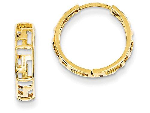 Finejewelers 14k Yellow Gold Greek Key Hinged Hoop Earrings 14k Yellow Key Ring
