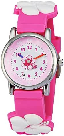 Zeiger New Fashion Children Kids Toddler Watches Girls Age 5 - 10 Time Teacher, Cartoon Character 3D Floral Silicone Band -Pink
