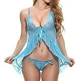 ALLYOUNG Women's Comfortable Underwear Pajamas Ladies' Dolls Underwear Nightdress Blue