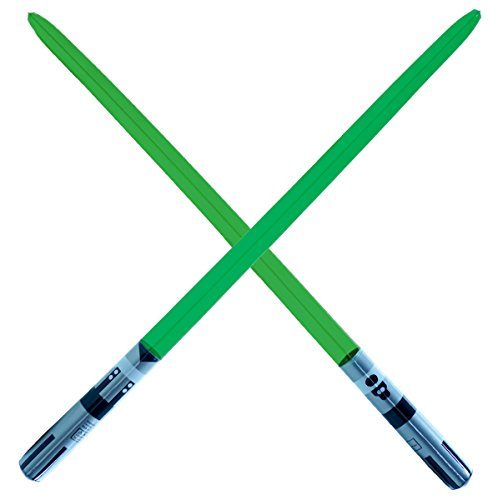 2 Premium - Green Single Blade Inflatable Light Saber Swords, Lightsaber, Party, Gift, Action Play, Blow Up Luke Yoda lightsaber (Green (Green Light Saber)