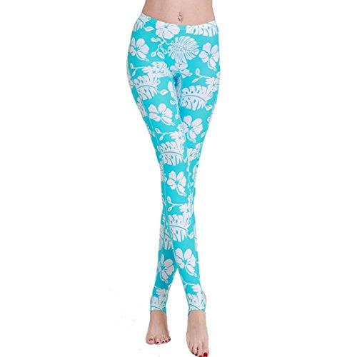 Damen Rashguard Pants Schwimmen Surf Leggings Volle Länge Tauchen Strumpfhosen, Water Blue