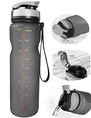 Water Bottle 1l - Eskiee Sports Water Bottle, 35 Ounce with Strap Leak Proof BPA-free Eco-Friendly Plastic bottle, 1 Liter Large Capacity for Traveling/ Hiking/ Camping/ Outdoor/ Running/ Gym Flip Open Lid Bottle