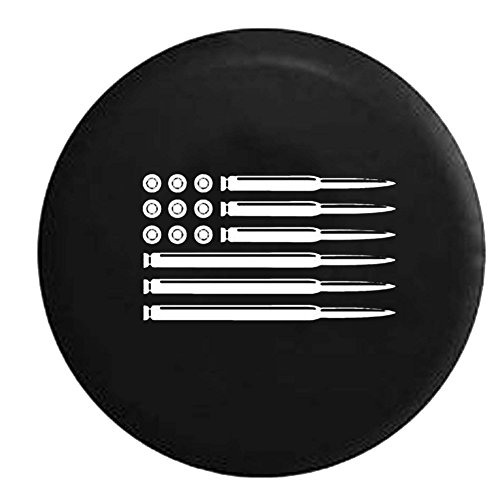 AR15 Rifle American Flag Military Gun Hunting Jeep Spare Tire Cover Vinyl Black 29 in