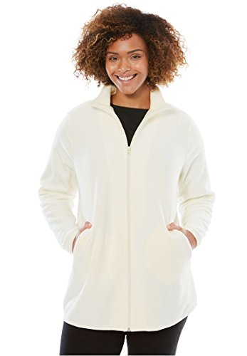 (Woman Within Plus Size Zip-Front Microfleece Jacket - Ivory, 1X)