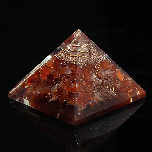 - Carnelian Crystal Orgone Pyramid EMF Protection Meditation Energy Generator