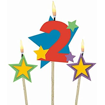 Amazon.com: Number 2 Candle and Stars on a Stick: Beauty