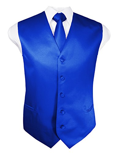 Guytalk Mens 3 Piece Tuxedo Vest for Formal Party, Wedding, Prom, Bartender Large Royal Blue