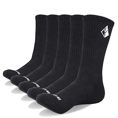 (YUEDGE Men's 5 Pairs Performance Cushion Crew Athletic Thick Comfort Workout Sports Socks)