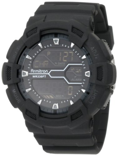 Armitron Sport Men's 40/8246MBLK Black Resin Digital World Time Chronograph (World Timer Stainless Steel Chronograph)