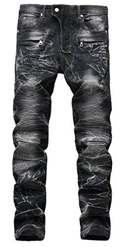 80s Punk Rock Costume (Aiyino Men's Ripped Slim Straight Fit Biker Jeans With Zipper Deco,US)