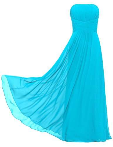 Strapless Weddings for Long Chiffon Turquoise Women's Dresses ANTS Bridesmaid g57xPqHw