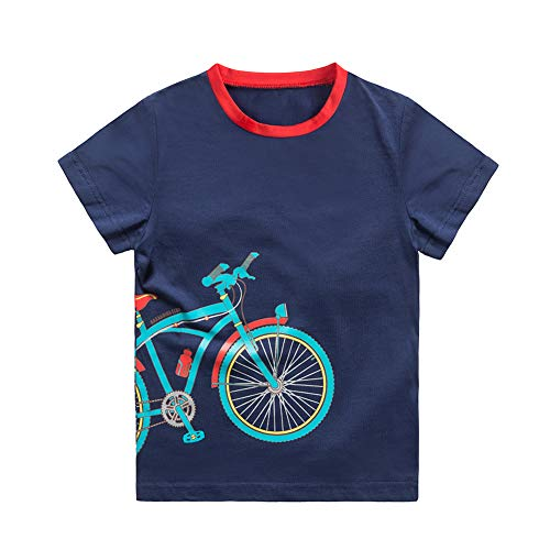 HOLIEBEE Boys Short Sleeve T-Shirts Uniform Crew Neck Tee Shirts Cotton Kids Tops Clothes Navy, 5-6 Years ()