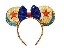 Mouse Ears Bow Headbands Glitter Princess Party Decoration Belle Cinderella Jasmine Mermaid Mouse Ears Headband for Girls (Stars and moon)