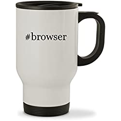 #browser - 14oz Hashtag Sturdy Stainless Steel Travel Mug, White