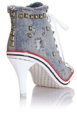 71ecf00db2ee Ghope Women Denim Canvas High Heels Sneakers Trainers High Top Ankle Wedge  Sneaker Rivet Sneakers (EU38)  Amazon.co.uk  Shoes   Bags