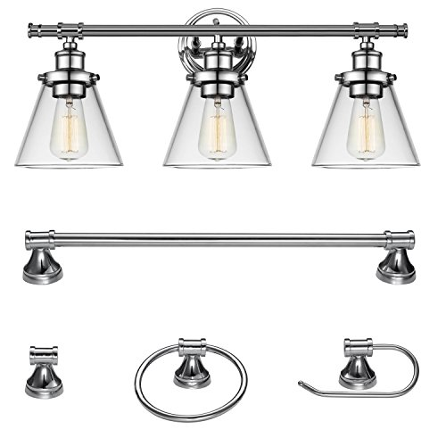 Globe Electric Parker 5-Piece All-in-One Bath Set, 3-Light Vanity, Towel Bar, Towel Ring, Robe Hook, Toilet Paper Holder, Chrome Finish, 51234 (Five Chrome Light Bath Fixture)