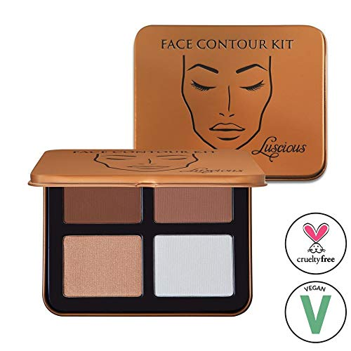 Face Contour Kit by Luscious Cosmetics | 4 Easy to Use Contouring and Highlight Powder Shades | Vegan and Cruelty Free Contour Palette (Best Matte Highlighting Powder)