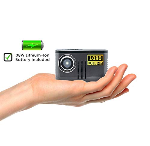 AAXA P7 Mini Projector with Battery, Native 1080P Full HD Resolution, 30,000 Hours LED Projector, Onboard Media Player, Business and Home