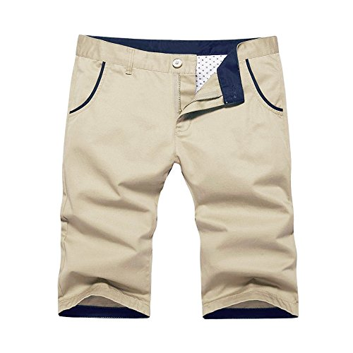OCHENTA Men's Regular Fit Flat Front Cotton Shorts #140 Khaki 32
