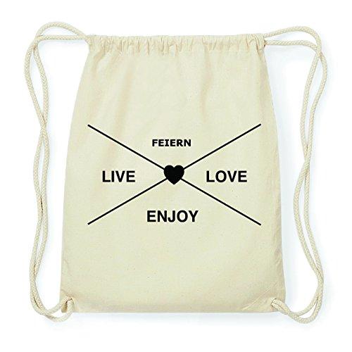 JOllify FEIERN Hipster Turnbeutel Tasche Rucksack aus Baumwolle - Farbe: natur Design: Hipster Kreuz