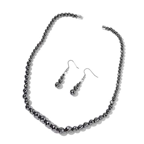 Shop LC Delivering Joy Black Hematite Beads Dangle Drop Earrings and Necklace for Women 20