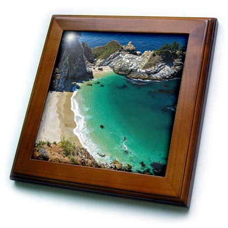 3dRose Danita Delimont - California - McWay Cove, Julia Pfeiffer Burns State Park, Big Sur, California, USA - 8x8 Framed Tile (ft_314702_1) ()