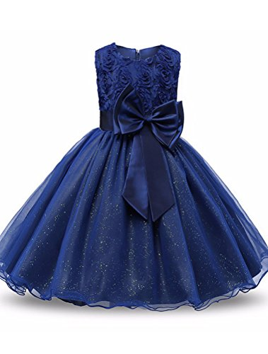Mallimoda Girl's Lace Tulle Flower Princess Wedding Dress for Toddler and Baby Girl Style 2 Dark Blue 12-18M -