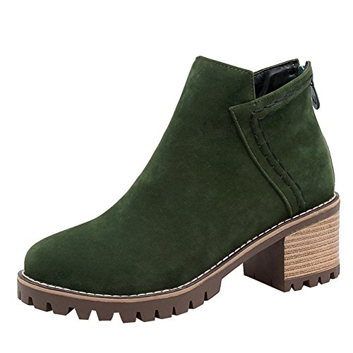 Carolbar Women's Solid Color Concise Mid Heel Zip Casual Short Boots Dark Green SZixo