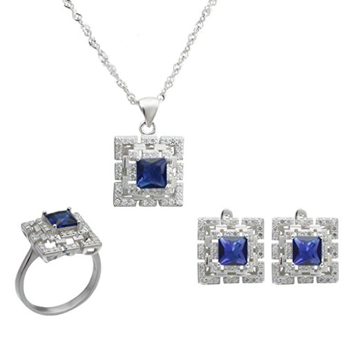 Aooaz Silver Plated Jewelry Set for Women Blue Square CZ Micro Pave CZ Wedding Band Earrings Necklace by Aooaz