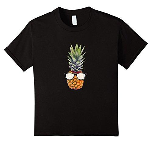 Kids Cool Pineapple Graphic T-Shirt with Black Sunglasses Black 12 - Sunglasses Wayfairer
