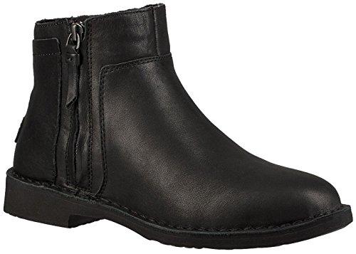 UGG Women's Rea Leather Fashion Boot, Black, 7 M US