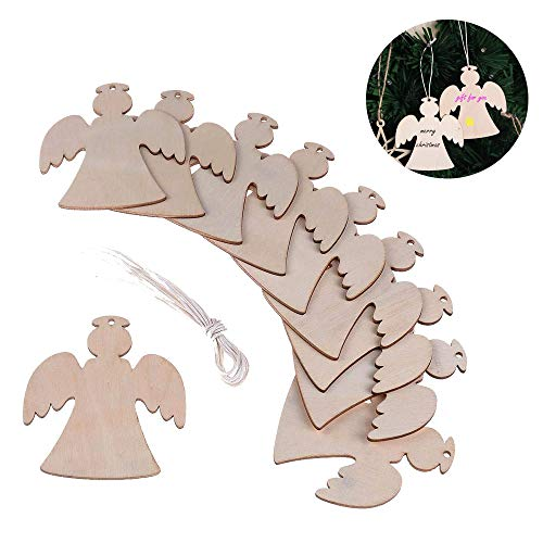 Bozoa Christmas Hanging Decorations/Wooden Angel Kids Hanging Decorations DIY Crafts Hanging Ornaments Xmas Blank Wood to Paint Decoration for Christmas Party Tree (10 Pcs)