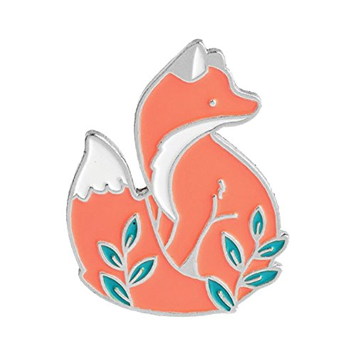 bjduck99 Unisex Cute Cartoon Fox Animal Brooch Pin Badge Jewelry Silver