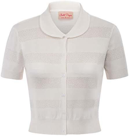 Belle Poque Women Vintage Cropped Cardigan Short Sleeve Button Bolero BP853
