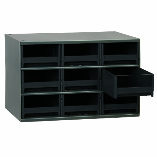 Akro-Mils 19909 17-Inch W by 11-Inch H by 11-Inch D 19 Drawer Steel Parts Storage Hardware and Craft Cabinet, Black Drawers by Akro-Mils