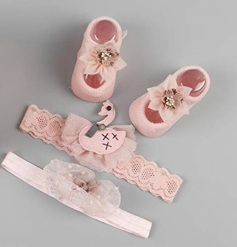Royarebar Diverse Styles Hair Decorations Cute Baby Decorations Accesories Set-Children Head Band 0-6 Months Baby Shoes (Light Pink) by Royarebar