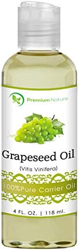Grapeseed Oil, Natural Carrier Oil 4 oz, Light & Silky Moisturizer, Rich In Omega Fatty Acids, Prevents Premature Aging, Suits All Skin Types - By Premium Nature