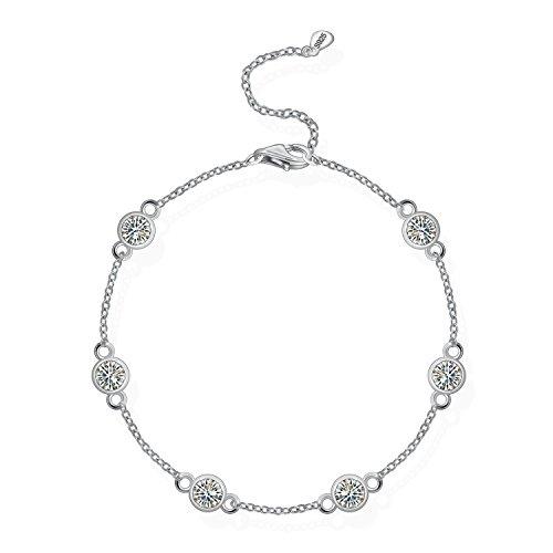 Sterling Silver Yard Stations Bracelet Cubic Zirconia CZ By the Yard Station Bracelet for Women (Silver Station Bracelet)