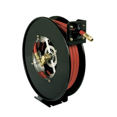 "Heavy Duty Hose Reel by Hosetract 1/2"" ID x 50"" 300 PSI Open Reel Spring type 1/2"" Male NPT Hose End Connection 1/2"" Female NPT Hose Reel Inlet MADE IN USA"