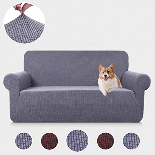 - TASTELIFE Sofa Couch Cover Loveseat Slipcover 1-Piece Stretch Jacquard Armchair Shield 2 Seat Furniture Protector Chair for Living Room Gray Love Seat Size