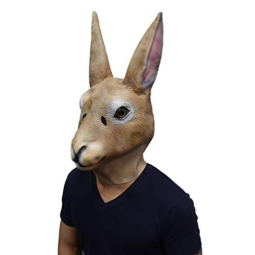 Bunny Head Mask with Long Ears Rabbit Animal Cosplay Mask Halloween Costume for Adult Brown -