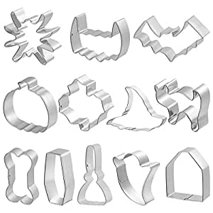 BESTONZON 12pcs Halloween Cookie Cutter Stainless Steel Cake Biscuit Molds Set - Pumpkin, Ghost, Spider, Bone, Bat, Witch's Hat, Maple Leaf, Cat,Teeth,Rroom, Tombstone, Cooffin